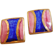 Vintage Porcelain Earrings. Blue Pink Gold. Geometric. Metallic.