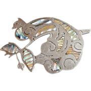 Vintage Peacock Brooch. Large Sterling Silver Pin. Hecho en Mexico Fantasy Bird. Abalone