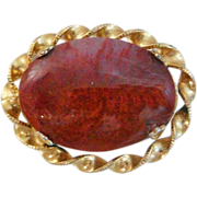 Vintage Carnelian Agate Brooch. Gold Plated. Art Deco Natural Stone Pin.