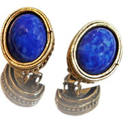 Vintage Blue Lapis Lazuli Earrings. Glass Faux Lapis Lazuli Earrings.