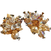 Vintage Vendome Crystal Earrings. Gold Leaves. Faux Pearls. Rhinestones.