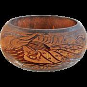 Vintage Carved Wood Bracelet. Tropical Design Wide Bangle. Birds, Flowers, Monkey Face Bracelet. Ethnic. Exotic.