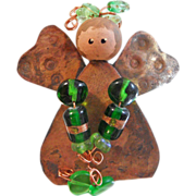 Vintage Copper Art Glass Angel Brooch. Folk Art Copper Pin. Green Art Glass Beads. Handpainted Angel Pin. Christmas Pin. Holiday.