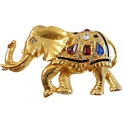 Vintage Rhinestone Elephant Brooch. Large Black Enamel Bejeweled Elephant Pin. Lucky Trunk Up. Political. Republican.