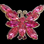 Vintage Pink Juliana Butterfly Brooch. Two Tone Pink Rhinestones D&E Butterfly Pin. Confirmed Book Piece.