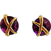 Vintage Purple Rhinestone Earrings. Gold X Purple Button Earrings.