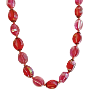 Vintage Faceted Hot Pink Necklace. Made in Austria. 50s AB Coated Two Tone Pink Necklace.
