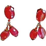 Vintage Faceted Hot Pink Earrings. Made in Austria. 50s AB Coated Two Tone Pink Earrings.
