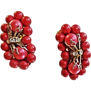 Vintage Red Bead Climber Earrings. Rondelle Rhinestones. 1950s Climber Earrings.