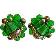 Vintage Emerald Green Bead Earrings. Hong Kong. 1950s Beaded Earrings