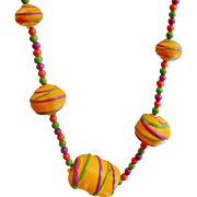 Vintage Fluorescent Orange 70s Necklace. Purple Lime Green Bright Orange Painted Beads Necklace.