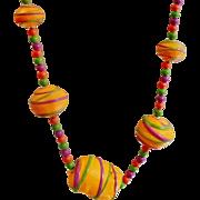 Vintage Fluorescent Orange 70s Necklace. Purple Lime Green Bright Orange Painted Beads Necklace.