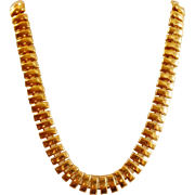 Vintage Gold Tone Egyptian Necklace. Egyptian Revival. Chunky Gold Tone Choker.