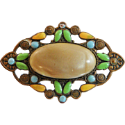 Vintage 1920s Arts and Crafts Brooch. 1920s Enamel on Copper and Celluloid Pin. Yellow, Blue, Beige Brooch.