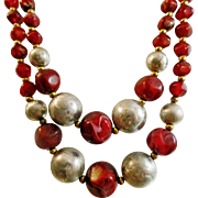 Vintage Deep Red Silver Beaded Necklace. Swirled Marbled Maroon Red and Textured Silver Bead Necklace. Two Strands.