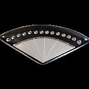 Vintage Mirror Fan Brooch. Black Lucite Fan with Mirrors Pin.