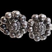 Vintage Gunmetal Gray and Textured Silver Beaded Earrings. Western Germany.