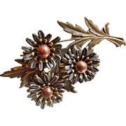 Vintage Large Mixed Metal Mums Brooch. Copper. Pewter. Brass. Fall Flowers Pin. Autumn Flower Brooch.