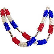Vintage Red White Blue Stacked Bead Necklace. 1960s Mod Patriotic Necklace.