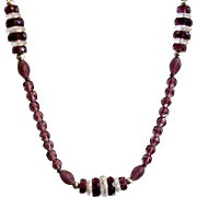 Vintage Long Purple Glass Flapper Necklace. Clear and Purple Glass Beads. Clear Disc and Amethyst Purple Faceted Beads.