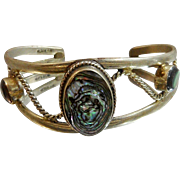 Vintage Mexican Abalone Bracelet. Abalone Alpaca Silver Cuff.