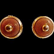 Vintage Gold Mesh Earrings. Bold Gold Plated Disc Earrings. Clip On 60s Earrings.