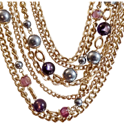 Vintage Seven Strand Gray Faux Pearl Purple Bead Necklace. Japan. Gold Tone Chains Gray Pearls and Purple Beads Necklace.