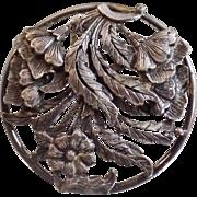 Vintage Large Pewter Flower Brooch. Big Round Floral Pewter Pin.