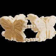Vintage Celluloid Butterfly Bracelet. Creamy White Butterfly Bracelet.