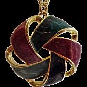 Vintage Purple Green Blue Pinwheel Necklace. 1980s Glitter Swirl Pendant Necklace.