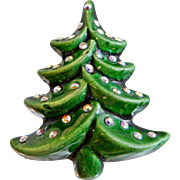 Vintage Christmas Tree Brooch. Green Glazed Porcelain Christmas Tree with AB Rhinestones Pin. Holiday Brooch.