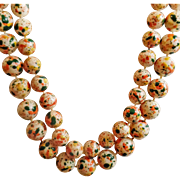 Vintage Selini Paint Splatter Two Strand Necklace. Orange, Green, Yellow Painted Bead Necklace.