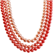 Vintage Three Shades of Pink Pearls Necklace. Japan. Three Strand Faux Pearls Necklace.