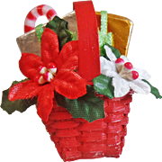 Vintage Poinsettia Basket Brooch. Satin Poinsettias, Foil Wrapped Gifts, Wicker Basket Pin. Christmas Flower Basket Brooch.