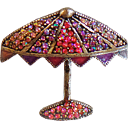 Vintage Umbrella Brooch. Pewter Beach Umbrella Pink Purple AB Rhinestones Pin. Star Mark.