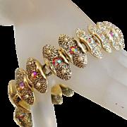Vintage Red Rhinestone and Pearl Bracelet. Judy Lee. AB Rhinestones. Oval Link Bracelet.