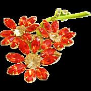 Vintage Orange Rhinestone Flower Brooch. Tangerine Orange Rhinestone Daisy Pin. Three Flower Brooch.