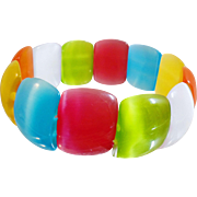 Vintage Glass Moonglow Candy Bracelet. Candy Colored Orange Red Green Yellow White Turquoise Glass Bracelet.