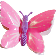 Vintage Handpainted Pink Butterfly Brooch. Pink and Purple Butterfly Pin.