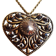 Vintage Hematite Brass Heart Necklace. Large Hematite Rhinestone Heart Necklace. Steam Punk.