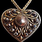 Vintage Hematite Brass Heart Necklace. Large Hematite Rhinestone Heart Necklace. Steam Punk.
