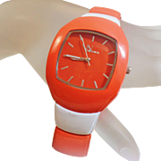 Vintage Orange White UT Watch. Women's Watch. Via Nova. University of Tennessee Watch.