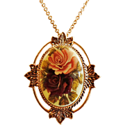 Vintage Rose Marie Pendant Necklace. 1970s. Sarah Coventry. Scotland. Porcelain Pendant in Antiqued Gold Tone