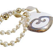 Vintage Ceramic Beaded Necklace. White Ceramic Silver Accent Bead Necklace.