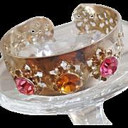 Vintage Pink Rhinestone Silver Snowflake Cuff Bracelet. Filigree Silver Plated Cuff Bracelet with Large Pink Gold Rhinestones