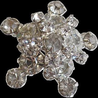 Vintage D&E Juliana Clear Rhinestone Star Brooch. 3D Clear Rhinestone Juliana Pin.