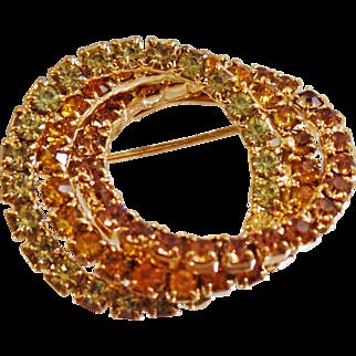 Vintage Green Amber Tan Rhinestone Circle Brooch. Gold Tone Three Circle Rhinestones Pin.