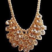 Vintage Dangling Bezel Set Clear Rhinestone Necklace. Bold Gold Large Rhinestone Bead Necklace.