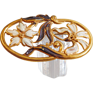 Vintage Art Nouveau Enamel Brooch. Large Blossom Gilt Pin. Turn of the Century. Victorian. Calla Lily Brooch.