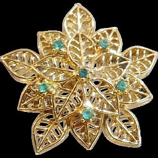 Vintage Blue Rhinestone Leaf Brooch. Gerry's. Gold Tone Blue Rhinestone Leaf Pin.